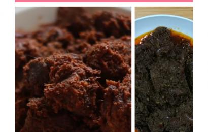 rendang daging padang hitam dan kering